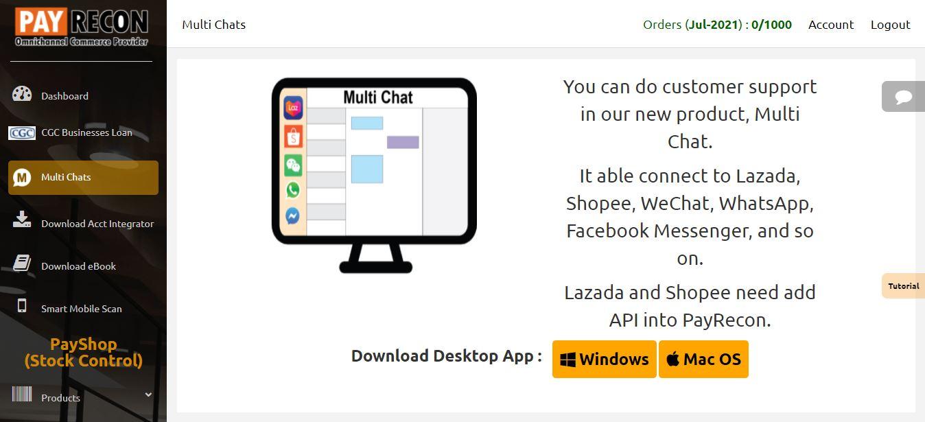 payrecon multichannel e-commerce chat download guide 2
